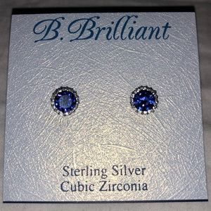 NEW!! Sterling Silver Sapphire Blue Cubic Zirconia